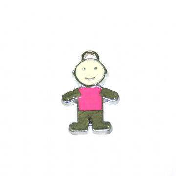 1pce x 21*15mm little boy in pink T-shirt enamel charms - S.D03 - CHE1240.